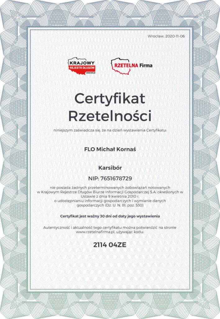 Certyfikat Rzetelności FLO Michał Kornaś