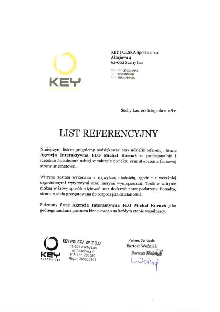 List referencyjny od KEY POLSKA Sp. z o.o.